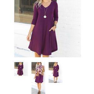 CS GEMS -Zenana Premium Dresses - Dark plum swing dress with pockets-size large